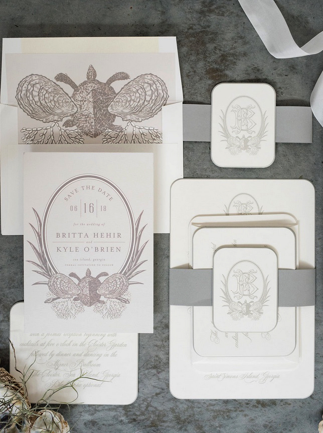 the invitations and other wedding papers southern coastal weddings